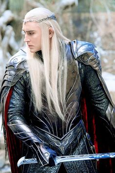 """""""Thranduil's armor was so beautiful. It was ancient and has elements wrought in mithril. The Weta Workshop and Costume Department teams did an amazing job of making my costume look like it came out of another time. I could easily imagine Thranduil, who was every bit as ancient and powerful, dusting off this incredible relic and donning it for battle."""" - Lee Pace"""