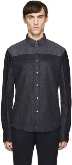 Wooyoungmi Grey & Blue Panelled Shirt