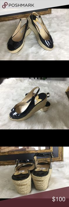 """🆕Listing. Jimmy Choo Wedge Slingback's.  Sz 7.5 These Jimmy Choo wedge shoes are really comfy.  Sz 7.5. Wedge is 3"""" love this height.  In good condition.  No dirt spots! Jimmy Choo Shoes Sandals"""