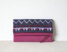 Fold Over Clutch Bag  Vintage Batik Fabric and por frompastopresent, $33.00