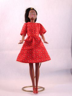 Handmade Barbie Short Sleeve Dress with Ribbon Sash - Red with Tiny White Flowers - All Cotton. $6.00, via Etsy.