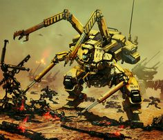 Large construction mech, with combat mechs and tanks in the background.