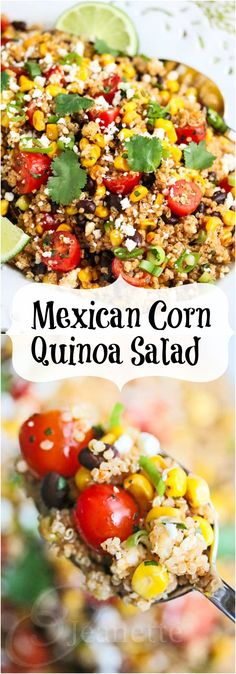 Mexican Corn Quinoa Salad © Jeanette's Healthy Living #freshcorn #sweetcorn #quinoa #salad #glutenfree #recipe