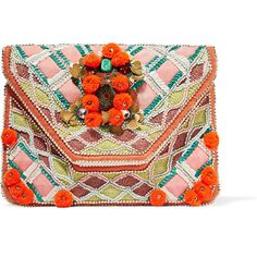 Antik Batik Margot embellished cotton-canvas clutch ($180) ❤ liked on Polyvore featuring bags, handbags, clutches, red, pink purse, embroidered handbags, coin purse, colorful purses and colorful clutches