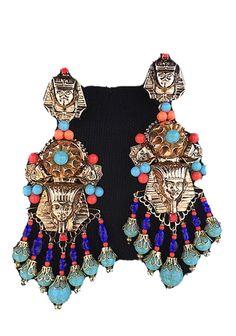 KJL Egyptian Modern Vintage Art Glass Bracelet and Clip on Earrings.