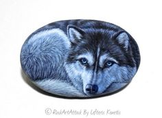 Siberian Husky Hand Painted on Sea Stone ! Rock Painting Art. Painted with high quality Acrylic paints and finished with Glossy varnish: