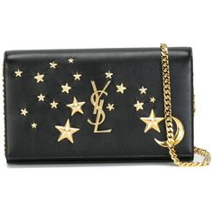 Saint Laurent 'Monogram' chain wallet ($1,650) ❤ liked on Polyvore featuring bags, wallets, black, studded wallet, star wallet, studded bag, leather chain wallet and genuine leather bags