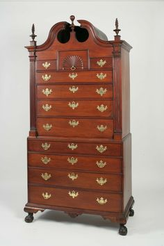 Chippendale Mahogany Bonnet Top Chest On Chest North Shore, Massachusetts,  Circa 1760 H: 88 In. W: 44 ½ In. D: 22 ¾ In. This Example Is Distinguished  By ...