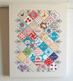 a sampler display canvas by pink penguin, what a brilliant and creative way of displaying your favorite fabrics.