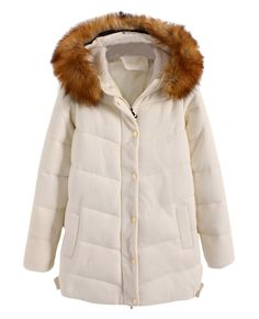 Fur-hood Fleece-lined Md-long Padded Coat |
