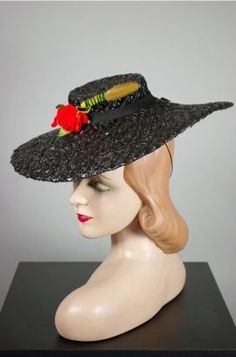 5fd7a25325d Black straw 1940s tilt hat with cute bug trim 1940s Outfits