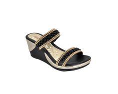 Calzado para dama modelo 33 color negro plataforma nataly, únicos con perlas en color negro y piedra dorada