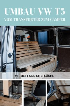 self-construction: The bed in the VW Transporter. - Build the bed in the campervan yourself – foldable, space-saving and inexpensive. In the article -Campervan self-construction: The bed in the VW Transporter. - Build the bed in the c. Volkswagen Transporter, T5 Bus, Vw Transporter Camper, T4 Camper, Mini Camper, Vw T5 Campervan, Volkswagen Golf, Trailers Camping, Minivan Camping