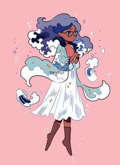 Drew a new witchsona! I'm an ocean witch who brews tea with ocean waves every morning~