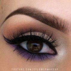 Smokey eye #makeup with purple liner #eye #eyes #makeup #smokey #bright #bold