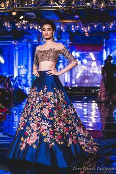 Sangeet Lehengas - Royal Blue Lehenga | WedMeGood | Royal Blue Silk Lehenga with Multi-colored Embroidery and an Off-Shoulder Grey Lace Blouse Outfit by: Manish Malhotra Picture Courtesy: Tarun Chawla Photography #wedmegood #manishmalhotra #indiacoutoureweek #lehenga