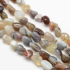 5x Perles Nuggets 8-12mm Agate Botswana : Perles pierres Fines, Minérales par mylittlebird