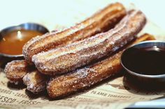 Churros with chocolate sauce are amazing at this Spanish restaurant in Coral Gables. The restaurant is called Bulla and everything on the menu is delicious!