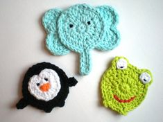PATTERN:  Three Animal Appliques, easy crochet PDF, zoo patch embellishment, Penguin, Elephant, Frog, InStaNT DowNLoaD, Permission to Sell