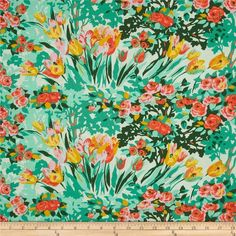 Amy Butler Violette Meadow Blooms Minty from @fabricdotcom  Designed by Amy Butler for Westminster, this cotton print fabric is perfect for quilting, apparel and home decor accents. Colors include lilac pink, coral orange, yellow, mustard, mint, green and teal.