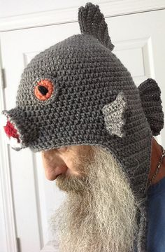 Crocheted by Wilmaelee! Ravelry: Black Piranha Monster Fish Hat with or without earflaps crochet pattern by Darleen Hopkins #CbyDH