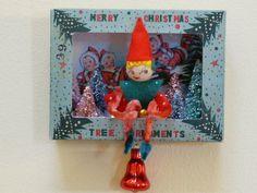 OOAK Vintage Christmas Ornament Shadow Box Pixie Elf Pink Bottle Brush Trees