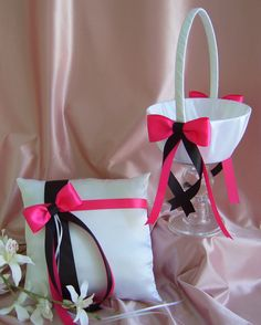 Hot Pink and Black Wedding Flower Girl Basket And Ring Bearer Pillow Set, Wedding Ceremony Accessories. $50.00, via Etsy.