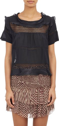 Isabel Marant Étoile Crochet & Voile Cole Top at Barneys.com