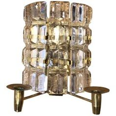 For Sale on - Unique Scandinavian lighting fixture, the screen is composed of clear heavy glass blocks, the sconce has two brass candle holders, circa Sweden. Scandinavian Wall Sconces, Scandinavian Lighting, Vintage Wall Lights, Brass Mirror, Brass Candle Holders, Contemporary Lamps, Glass Blocks, Glass Shades, Light Fixtures