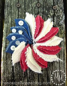 Diy Mini Patriotic Wreath Pin Made with Burlap and Denim