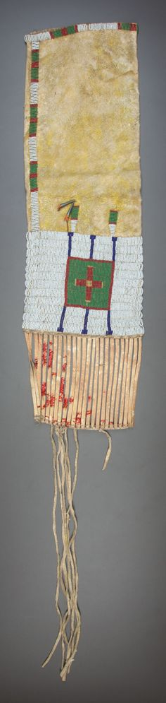 American Indian Art:Beadwork and Quillwork, A SIOUX BEADED HIDE TOBACCO BAG. c. 1900... Image #2
