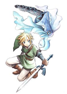 Skyward Sword Link & Fi - like the color pencil style on this one