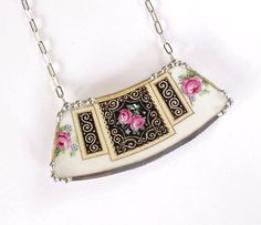 Broken china jewelry necklace Victorian pink rose china made from a broken plate