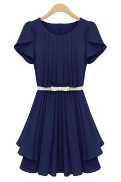 $42.99 Dark Blue Petal Sleeve Pleated Dress @ MayKool.com