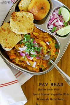 Pav Bhaji {1 of MOST #Yummy Indian #Street_Food - Spiced Mashed Vegetables With Homemade Bread Rolls} very Popular in Mumbai