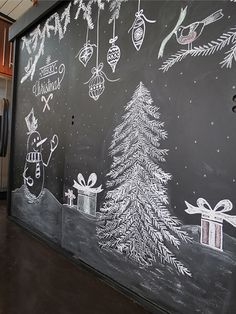 Christmas Chalkboard Art: A New Tradition Chalkboard Print, Chalkboard Drawings, Chalkboard Lettering, Chalkboard Designs, Chalkboard Ideas, Christmas Art, Christmas Photos, Christmas Tree On Wall, Christmas Tree Drawing