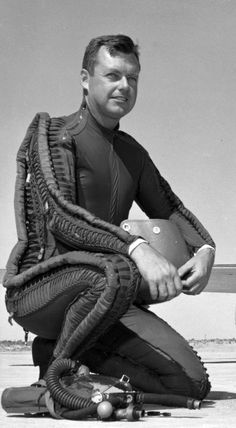 Captain Arthur W. Murray, U.S. Air Force (1918–2011). Murray is wearing a David Clark Co. T-1 capstan-type partial-pressure suit with K-1 helmet for high altitude flight. (U.S. Air Force)