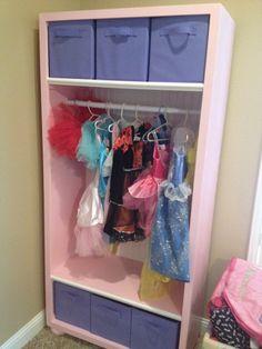 Do It Yourself Dress Up Storage Play Room Little Girl Princess Attire Floating Corner Shelf Home Project Wood Dowel Cut Glued Rod Socket