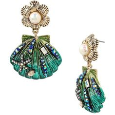 Betsey Johnson Glitter Reef Sea Shell Earrings ($52) ❤ liked on Polyvore featuring jewelry, earrings, green, betsey johnson jewelry, flower earrings, glitter earrings, glitter jewelry and flower jewellery