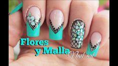 Diseño de uñas FACIL de flores y malla - Flowers nail art Sinful Colors, Nail Colors, Stiletto Nail Art, Nail Photos, Painted Nail Art, Nail Polish Art, Disney Nails, Flower Nails, Black Nails