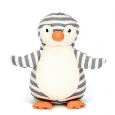 Jellycat Shiver Penguin has a chime in his belly to jingle reassuringly when cuddled. This is the most friendly-looking penguin friend I've seen in a long time!
