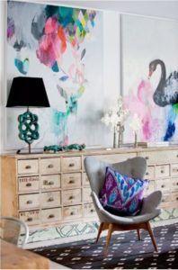 Miranda Skoczek art/ Lucy Fenton's home/ via The Design File's Home Interior, Interior And Exterior, Interior Decorating, Interior Design, Brown Interior, Decorating Blogs, Interior Inspiration, Design Inspiration, Painting Inspiration