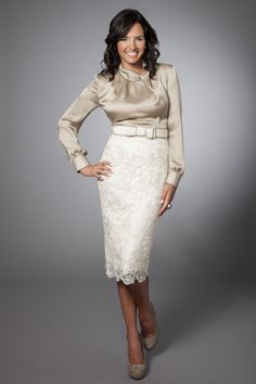 Champagne Silk & White Lace Going Away Dress