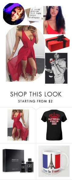 """""""At Dean's surprise birthday party !"""" by swaggwweforever ❤ liked on Polyvore featuring Giorgio Armani, birthday, WWE, reddress and DeanAmbrose"""