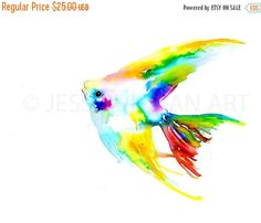 ON SALE Angelfish Watercolor Print Angelfish by ArtbyJessBuhman