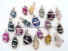 Colorful Agate Stone, Alpaca Silver Coils Pendants  http://www.wholesaleperuvianjewelry.com