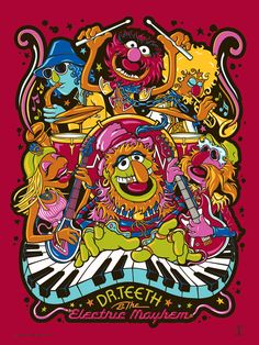 Muppets - Dr Teeth and the Electric Mayhem by James Carroll Elmo, Sesame Street Muppets, Muppet Babies, Fraggle Rock, The Muppet Show, Dark Ink, Studios, Kermit The Frog, Poster Prints
