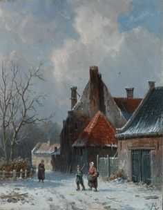 Adrianus Eversen (Amsterdam Delft) A village in winter - Dutch Art Gallery Simonis and Buunk Ede, Netherlands. Great Paintings, Landscape Paintings, Smart Art, Dutch Painters, Victorian Art, Winter Art, Realism Art, Winter Landscape, Delft