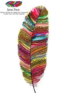 Tribal Rainbow Feather Print by SarahTravisArt on Etsy, £6.75