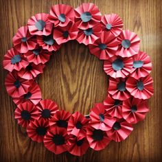 Remembrance Day Poppy Wreath Elementary school art project